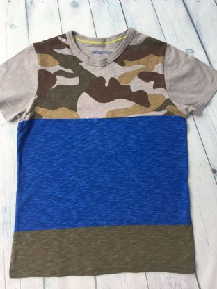 Johnnie B camo and blue stripe tshirt age 9-10